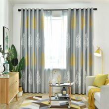 1pc Leaf Print Eyelet Curtain