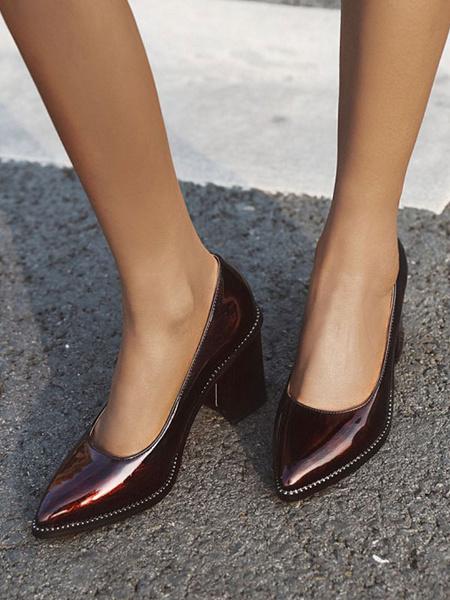 Milanoo Zapatos de tacon alto para mujer Bombas sin cordones con punta puntiaguda de tacon grueso de color verde oscuro