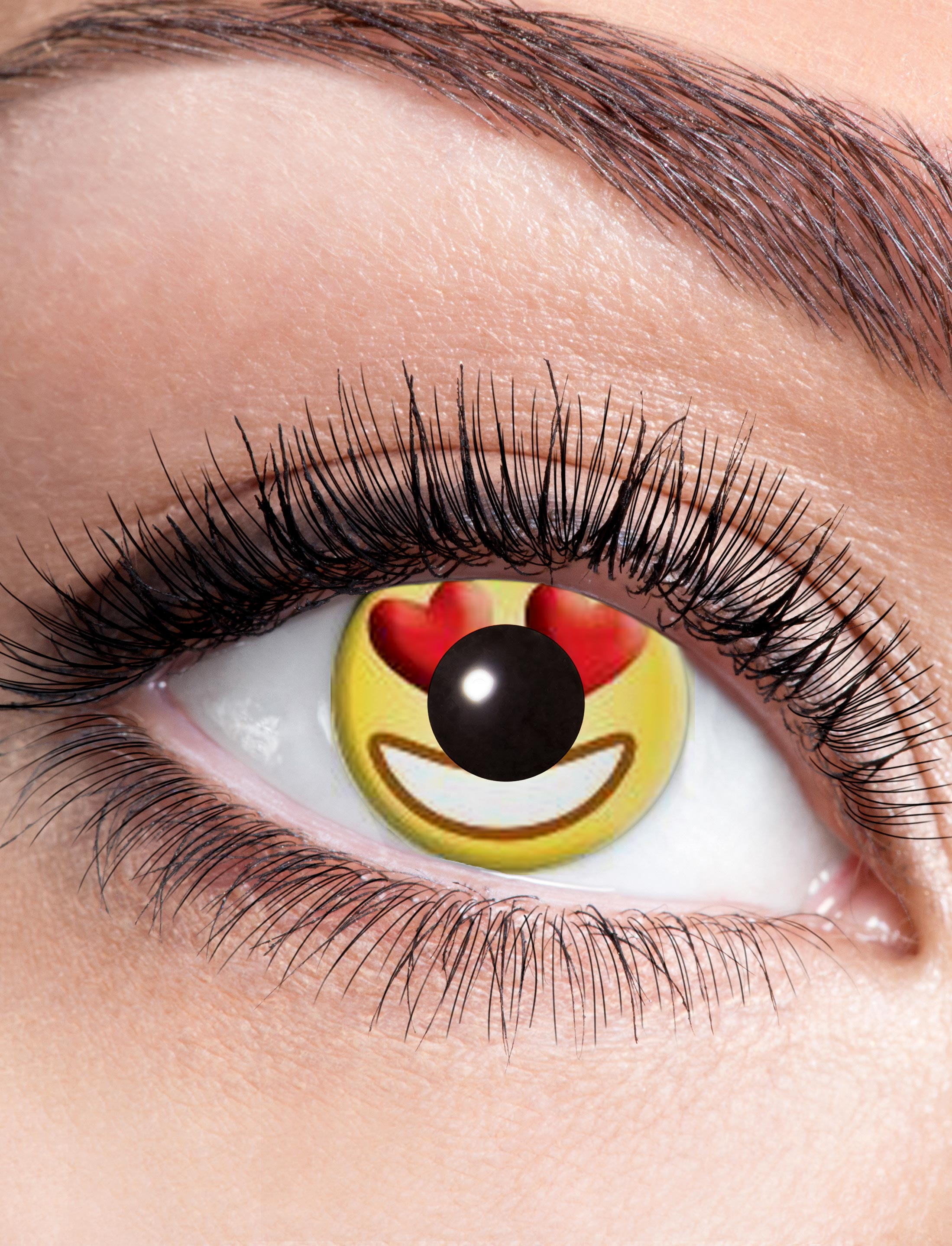 Kostuemzubehor Kontaktlinsen Emoji Herz Farbe: gelb