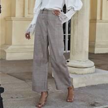 Hose mit Karo Muster, hoher Taille und breitem Beinschnitt