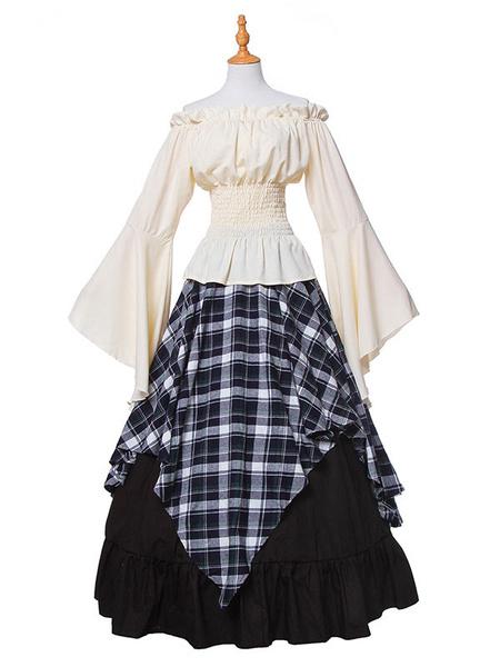 Milanoo Retro Victorian Costume Long Sleeve Plaid Medieval Dresses Halloween
