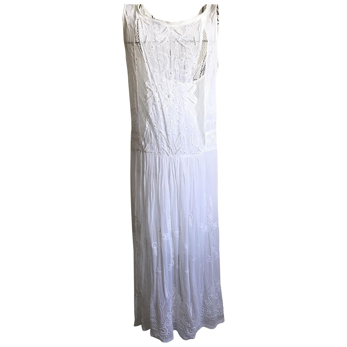Zara \N Kleid in  Weiss Baumwolle