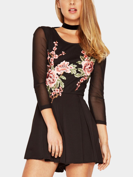 Yoins Black Mesh Embroidery Embroidered Romper