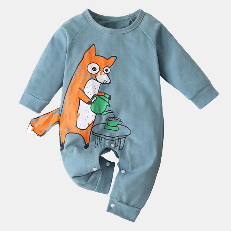 Baby Cute Cartoon Print Soft Long Sleeves Casual Sleepwear Rompers For 0-18M