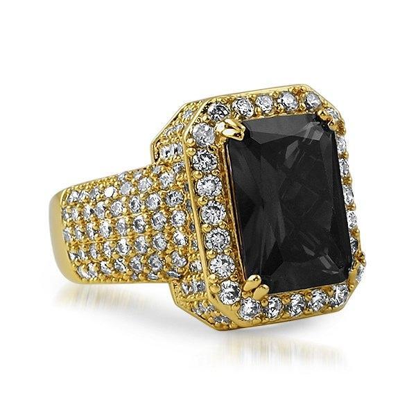 Fully Iced Lab Black Diamond Gold Hip Hop Ring