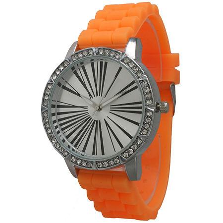 Olivia Pratt Womens Rhinestone Bezel Roman Numeral Dial Orange Silicon Watch 20369Orange, One Size , No Color Family