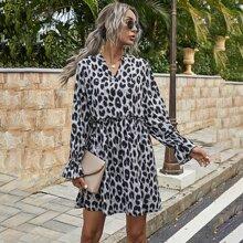 Vestidos Volante fruncido Leopardo Casual