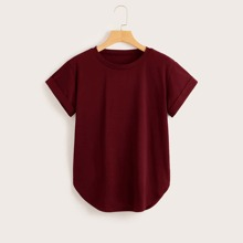 Rolled Cuff Curved Hem Solid Tee