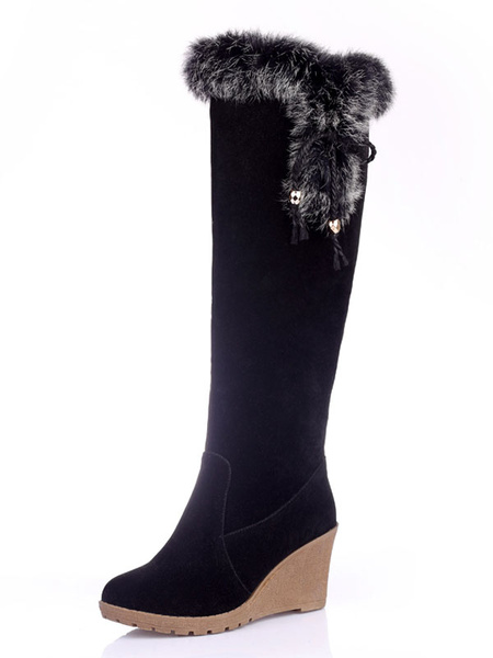 Milanoo Knee High Boots Womens Micro Suede Faux Fur Round Toe Wedge Heel Winter Boots