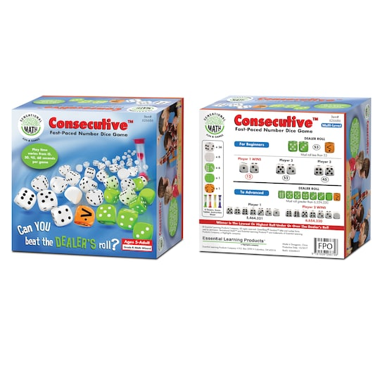 Consecutive™ Fast-Paced Number Dice Game By Essential Learning Products | Michaels®