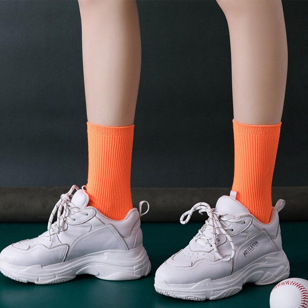 Women's Cotton Double Needle Stack Pile Socks Fluorescent Socks Sweat Absorption