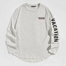 Men Embroidery Detail Letter Graphic Curved Hem Tee