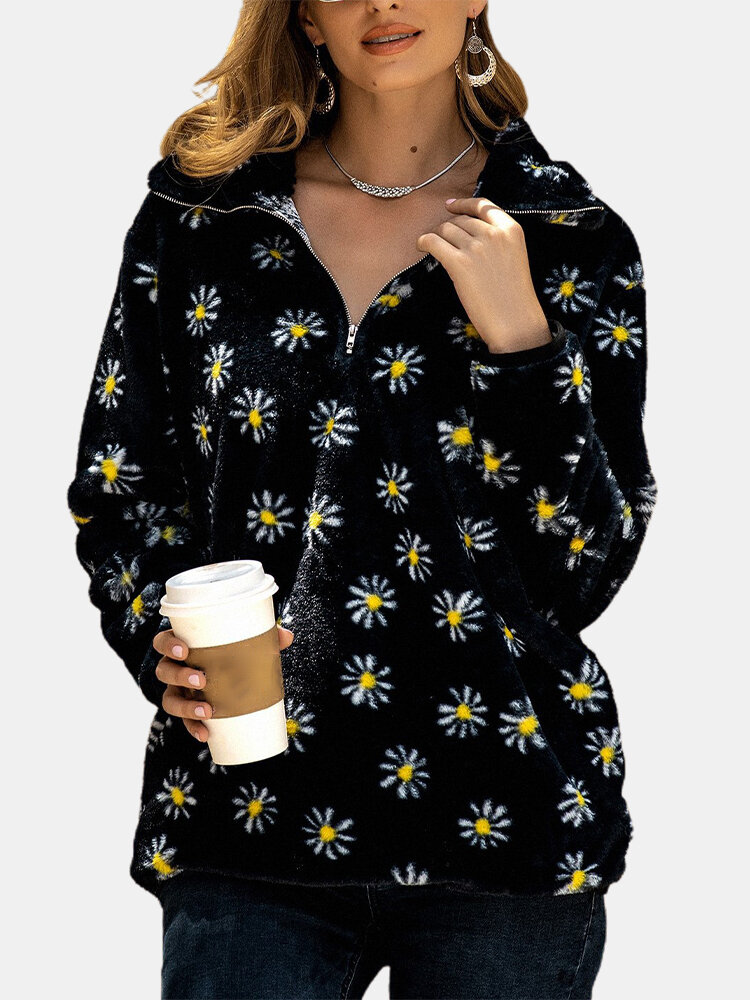 Daisy Flower Printed Long Sleeve Zipper Front Pocket Sweatshirt For Women