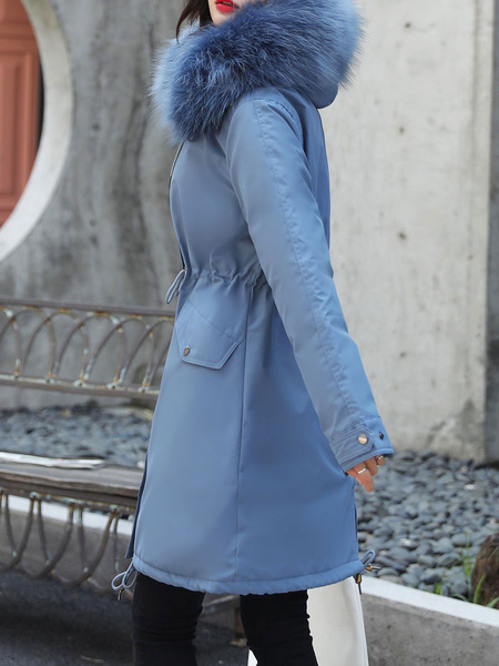 Milanoo Abrigos parka para mujer Abrigo de invierno con cremallera y cordon de manga larga con capucha blanca