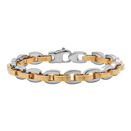 Mens Two-Tone Stainless Steel D-Link Bracelet, One Size , Multiple Colors