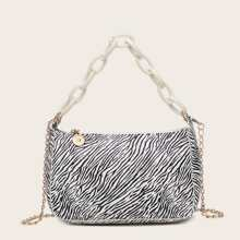 Zebra Striped Pattern Baguette Bag