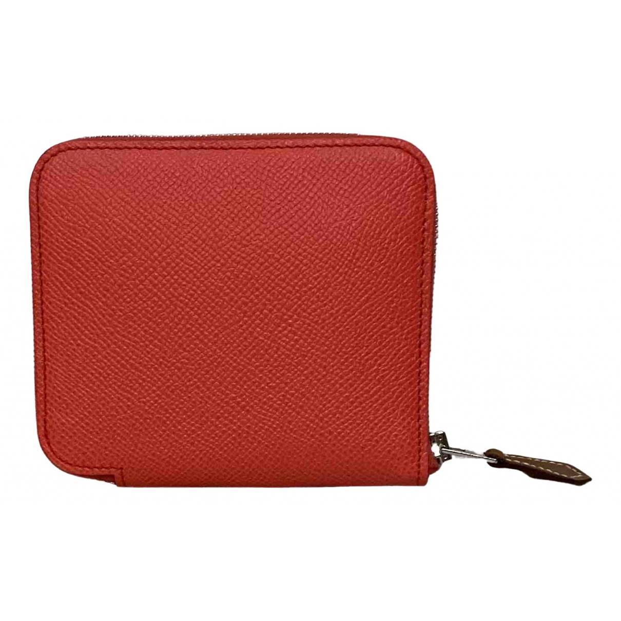 Hermes - Portefeuille Silkin pour femme en cuir - rose