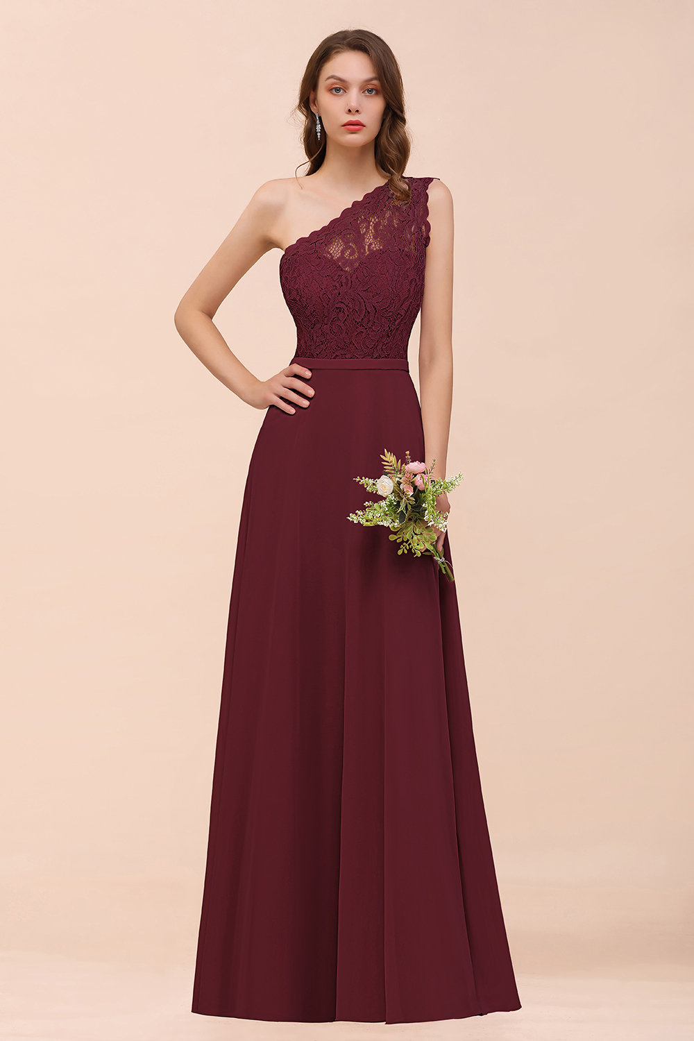 BMbridal New Arrival Dusty Rose One Shoulder Lace Long affordable Bridesmaid Dress