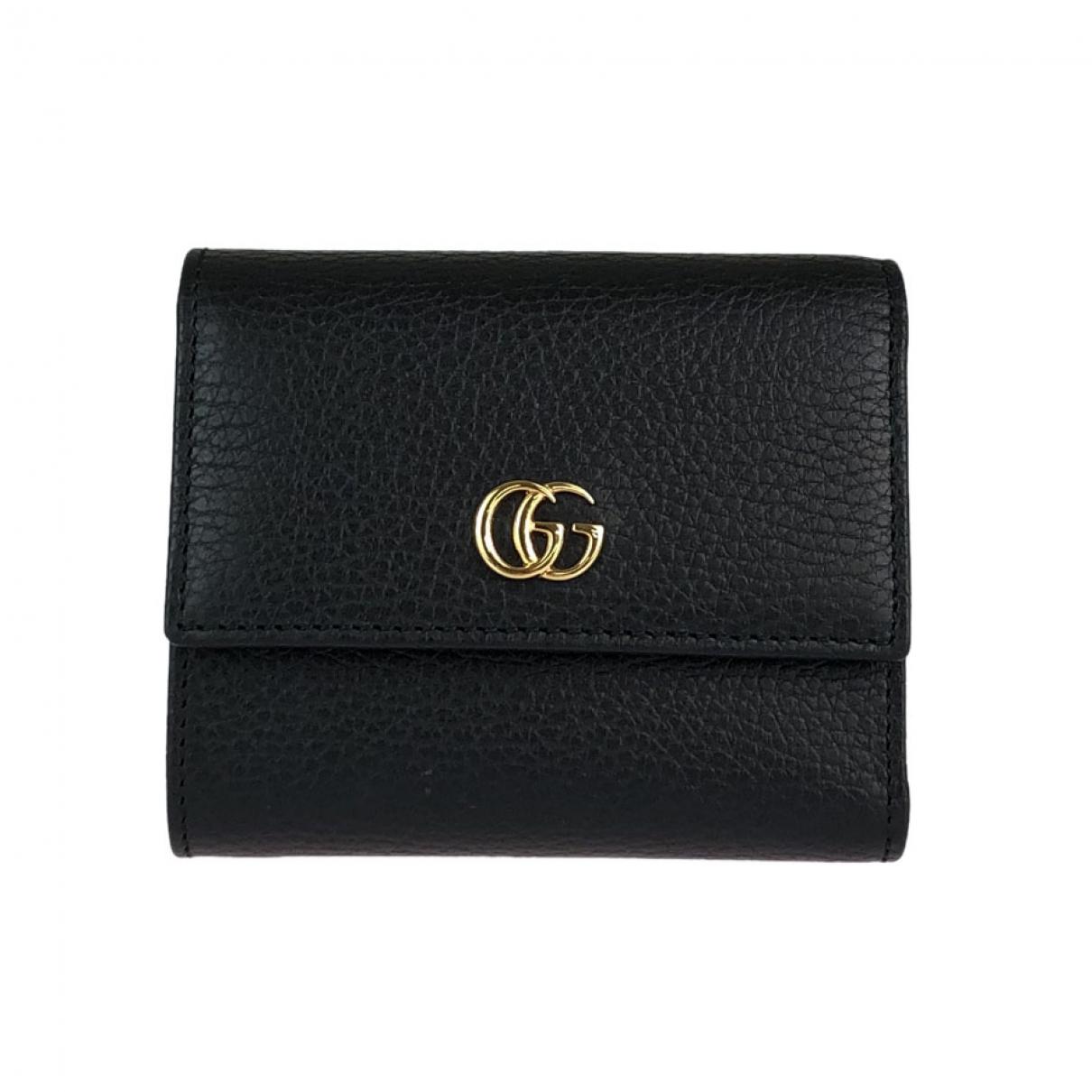Gucci - Portefeuille Marmont pour femme en cuir - noir
