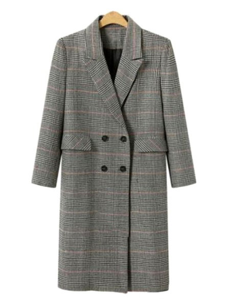 Milanoo Prendas de abrigo a cuadros cuello de cobertura Escudo retro Maxi