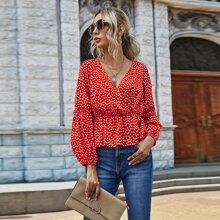 Bluse mit Bluemchen Muster, V-Ausschnitt und Schosschen