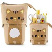 1 pieza bolsa de lapiz con estampado de gato
