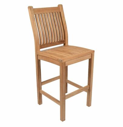 Classic Collection DN-3456 Bar Chair with Teak Construction  Stainless Steel and Brass Hardware  Mortise and Tenon Joinery in Honey