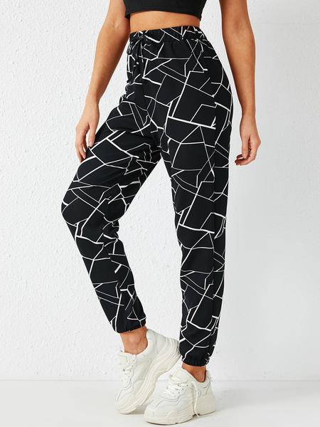 YOINS Black Geometric Drawstring Waist Pants