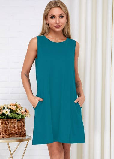 Cocktail Party Dress Sleeveless Round Neck Side Pocket Dress - S