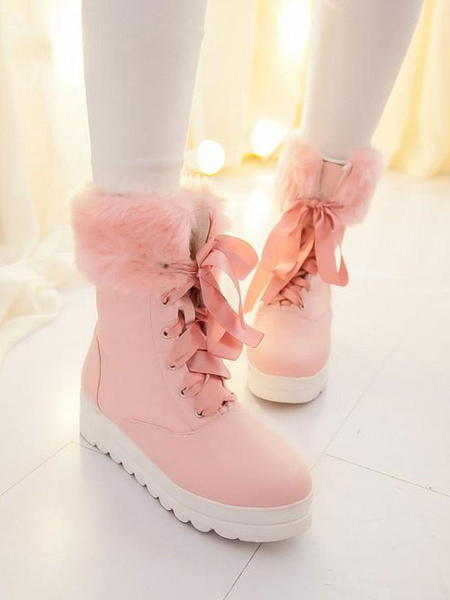 Milanoo Classic Lolita Boots Lace Up Furry Plush PU Lolita Shoes