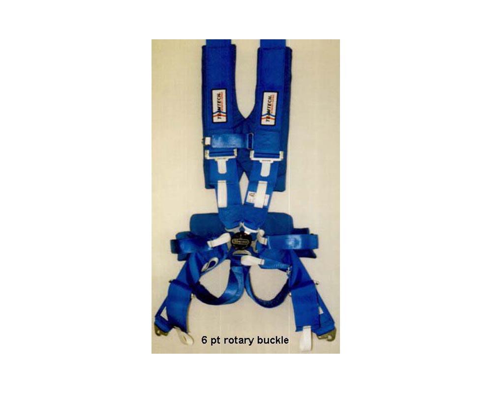 Team Tech TT-6007B 6 PT Ram Pac Latch-Link Snap-In Harness Blue