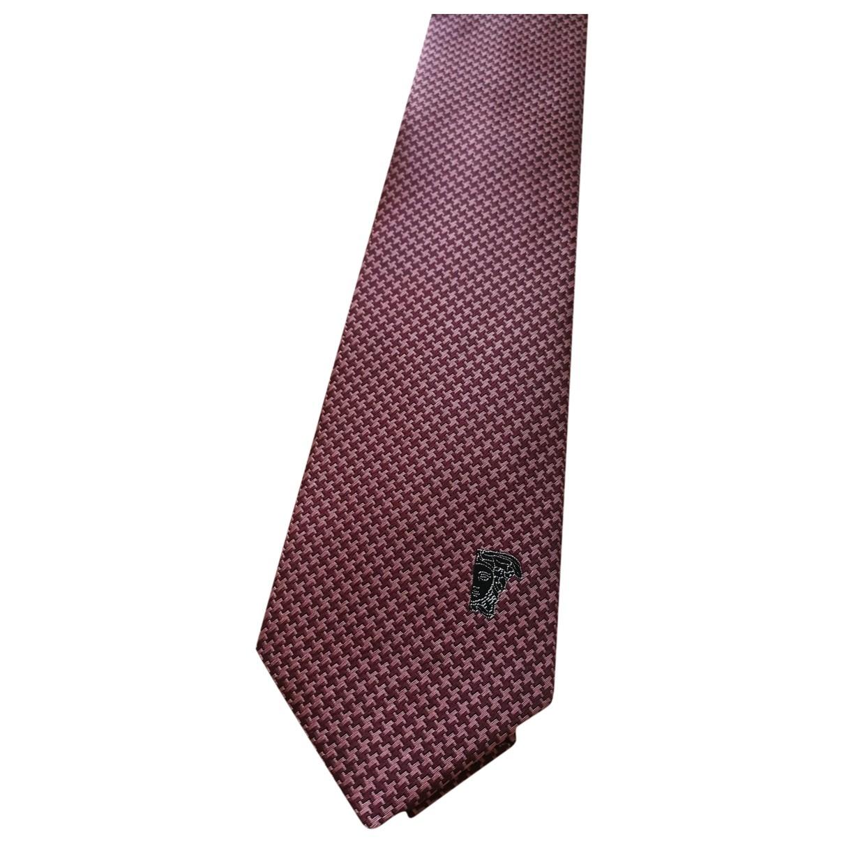 Versace - Cravates   pour homme en soie - bordeaux