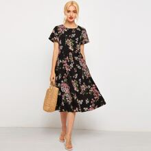 Daisy Floral A-Line Long Dress