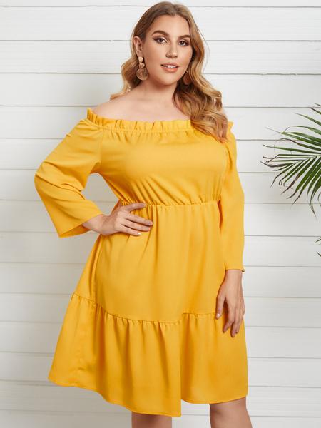 YOINS Plus Size Off The Shoulder Elastic Strap Long Sleeves Midi Dress