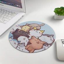 Cat Cartoon Graphic Round Mouse Pad