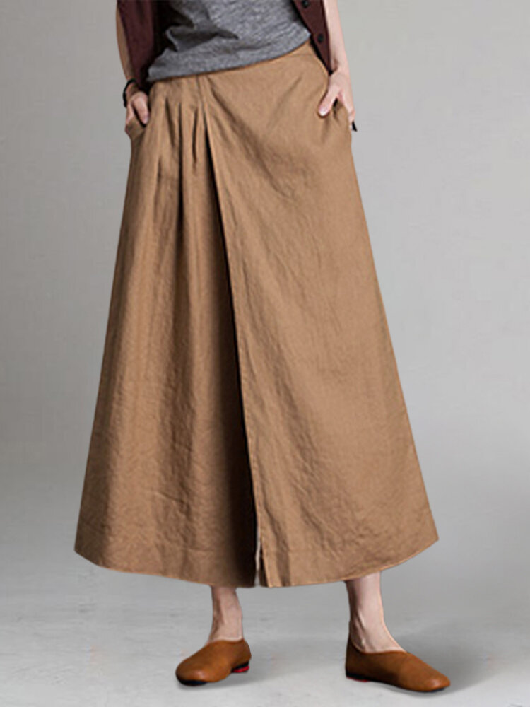 Solid Color Elastic Waist Patchwork Loose Pants For Women