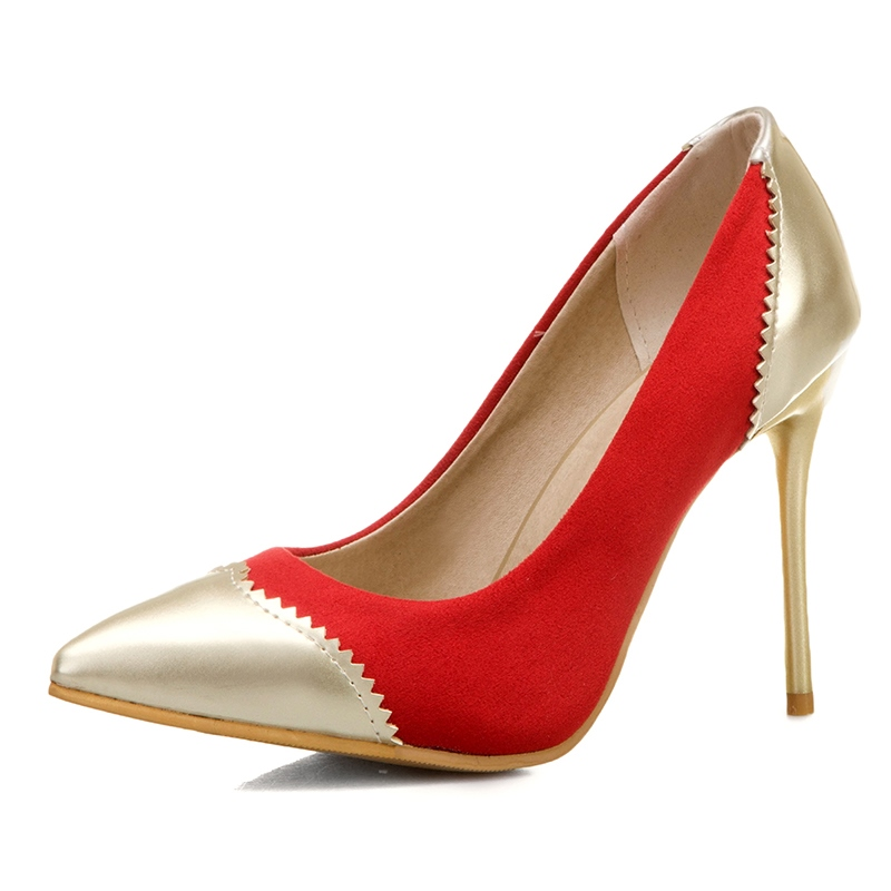 Ericdress Thread Pointed Toe Stiletto Heel Color Block Thin Shoes