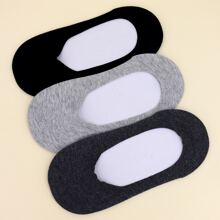 3pairs Solid Invisible Socks