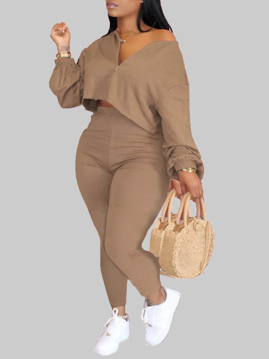 LW Lovely Sportswear V Neck Zipper Design Khaki Plus Size Two-piece Pants Set