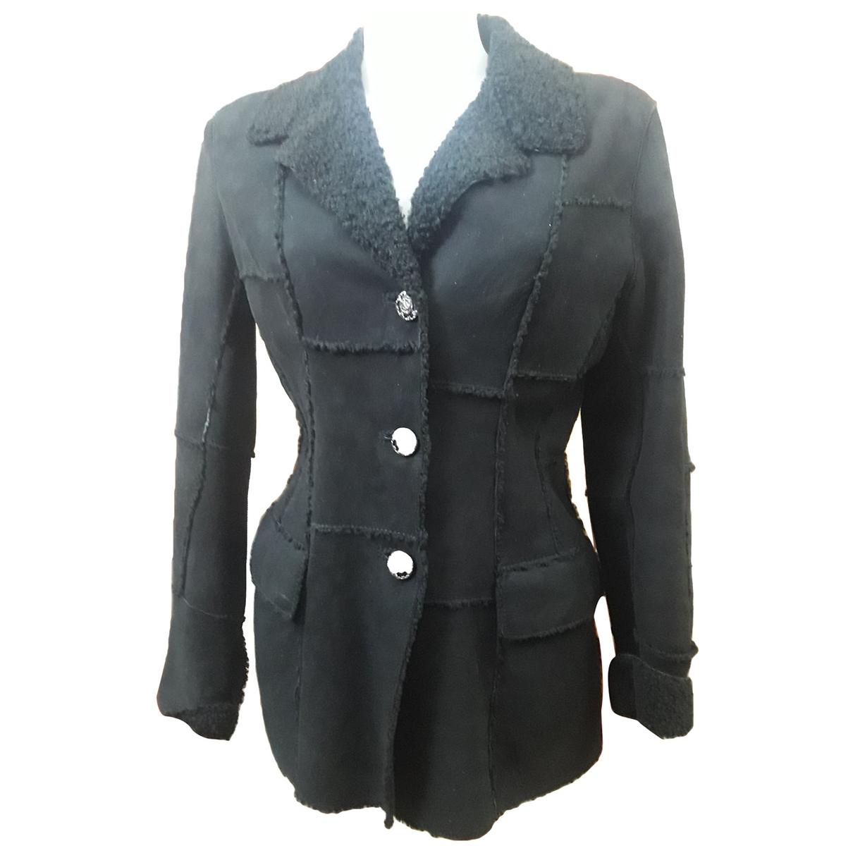 Roberto Cavalli \N Black Shearling Leather jacket for Women M International