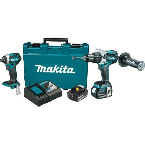 Makita 18 Volt LXT Lithium-Ion Brushless Cordless 2-Piece Combo Kit (Hammer Drill/ Impact Driver) 4.0 Ah