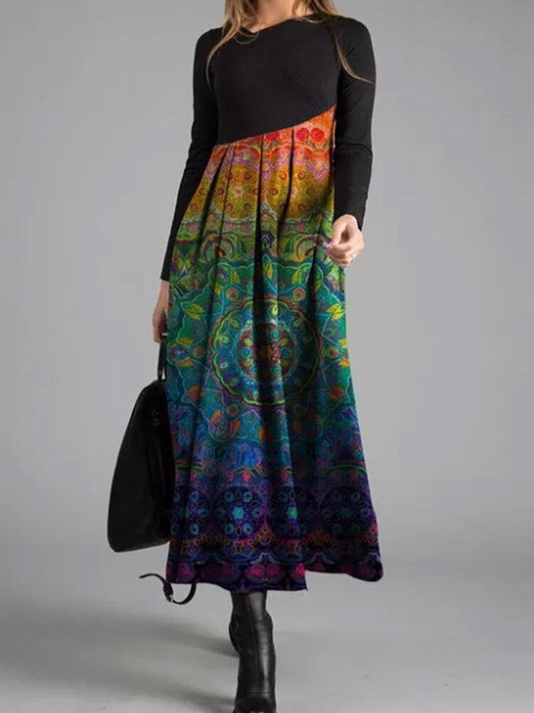 Vintage Printed Asymmetrical Patchwork Dress For Women