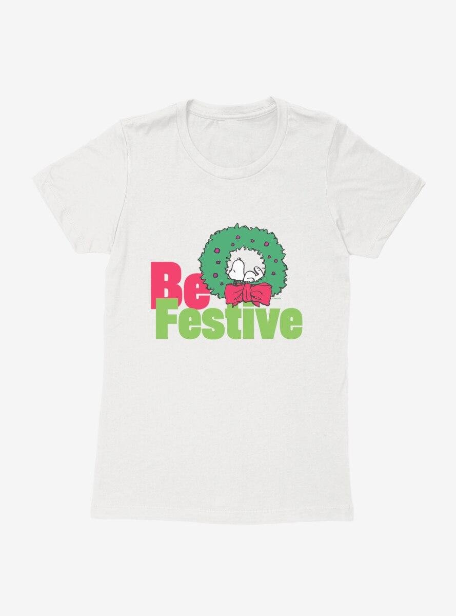 Peanuts Christmas Snoopy Be Festive Wreath Womens T-Shirt