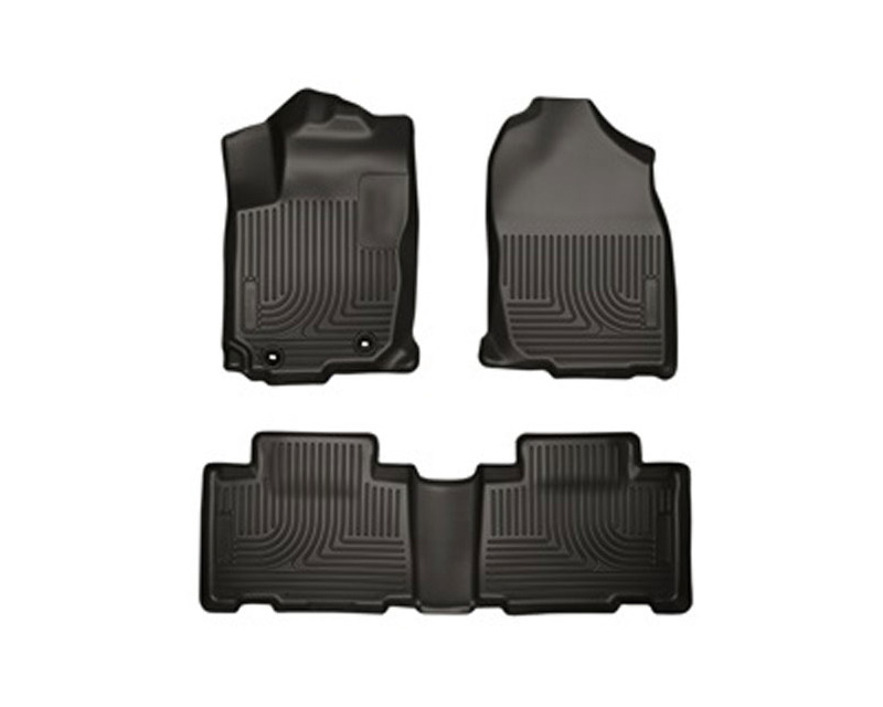 Husky Floor Liners Front & 2nd Row 13-15 Toyota Rav4 (Footwell Coverage) WeatherBeater-Black