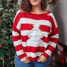 Pullover mit Farbblock und Baum Stickereien