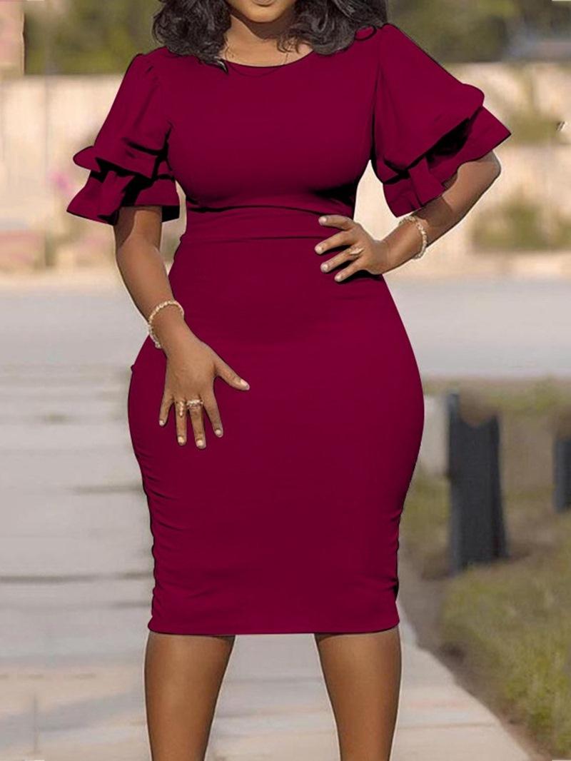 Ericdress Plus Size Round Neck Ruffle Sleeve Single Bodycon Dress