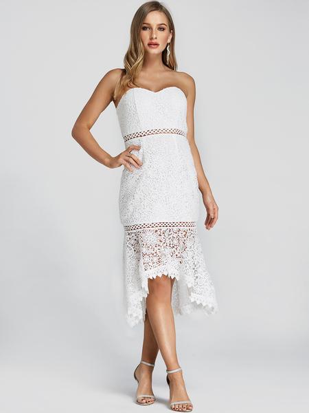 Yoins White Backless Tube Top High-Low Hem Lace Dress