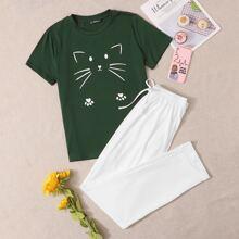 Cat Print Tee and Tie Waist Pants PJ Set