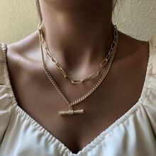 Geometric Charm Layered Necklace