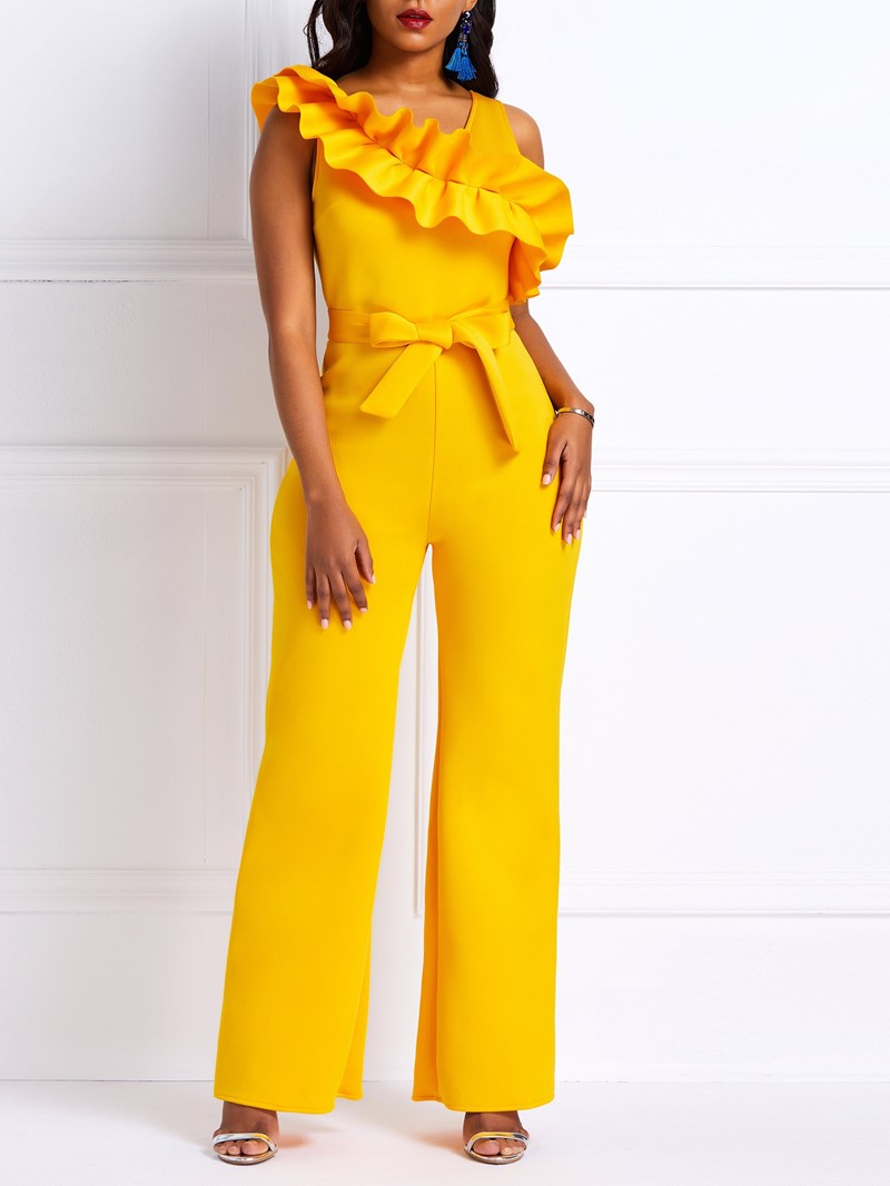 Ericdress Falbala Plain Elegant Slim Women's Jumpsuit